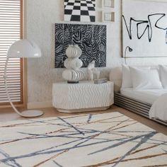 KELLY WEARSTLER | ASTRAL RUG. Sleek and artful spirited airbrushed pattern Bedroom With Bath, Home Decor Bedroom, Home Living Room, Master Bedroom, Contemporary Bedroom Furniture, Contemporary Decor, Modern Bedroom, Rug Company, Home Decor Inspiration