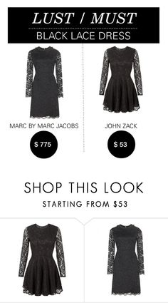 """""""Lust/Must: Black Lace Dress"""" by polyvore-editorial ❤ liked on Polyvore featuring John Zack, Marc by Marc Jacobs, lustmust and blacklacedress"""