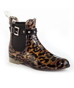 Henry Ferrera Black & Tan Leopard Clarity Rain Boot