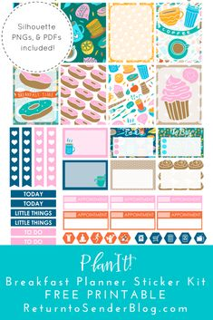 PlanIt! Free Printable Planner Stickers – Breakfast Themed Weekly Kit!