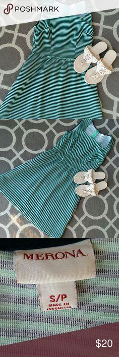 MWRONA navy and green striped dress Empire waist , great condition Merona Dresses Midi