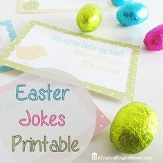 Free Easter jokes printable. You can print them out and use them as lunch box notes, for filling plastic eggs or numerous other purposes !