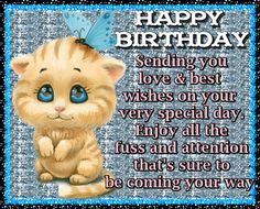 Send someone special this gorgeous birthday card. Free online Cute Kitty Birthday Card ecards on Birthday Birthday Verses, Birthday Songs, Birthday Board, Boy Birthday, Happy Birthday Penguin, Cute Happy Birthday, Birthday Wishes Funny, Birthday Sparklers, Birthday Fireworks