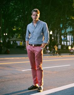 Noteworthy: this young gentleman and I met when he recognized me during the summer film festival at Bryant Park one Monday evening. I really liked his 50s vintage Czech timepiece by Prim (a gift from his girlfriend). The break on his Nantucket reds is perfect here—an all around solid uniform for the summer.