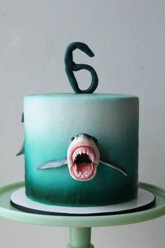 Awesome Image of Shark Birthday Cake . Shark Birthday Cake Shark Cake For Shark Week Tutorial Sugar Geek Show Birthday Cake Kids Boys, Shark Birthday Cakes, New Birthday Cake, Birthday Cookies, Finding Nemo Cake, Shark Cookies, Cake Cookies, Shark Cake, Birthday Cake Decorating