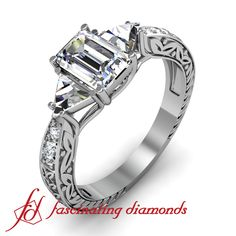 Emerald Cut Diamond Vintage Engagement Ring With Trillion & Round Side Stones / fnagri
