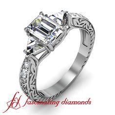 Emerald Cut Diamond Vintage Engagement Ring With Trillion & Round Side Stones / fnagri