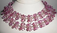 Czech Glass Necklace Amethyst Light and Dark Bow Tie Beads. Measures 28 from end to end and just over 1/2 wide. Glass beads in very good condition. Lovely shades of purple.