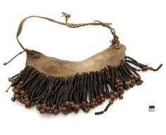 Africa | Loincloth from the Nilote people of the White Nile region of Sudan | Leather, seeds and glass beads | 20th century