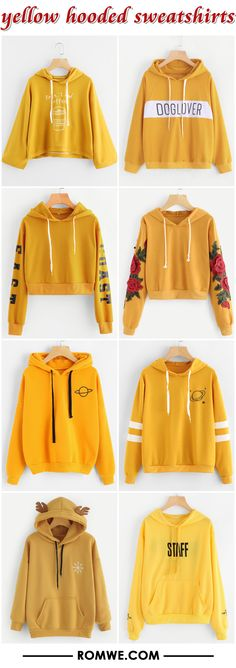 yellow hooded sweatshirts from romwe.com