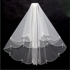 Bridal Wedding Veil With Two Tiers In White or Ivory.