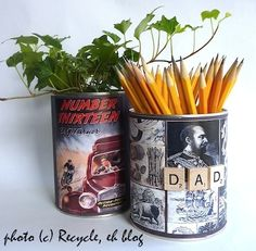 Make Dad something for his desk out of old tins,