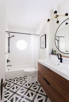 Gorgeous bathroom using cement tile and Ikea vanity (refaced). Gorgeous bathroom using cement tile and Ikea vanity (refaced). Image Size: 640 x 640 Source Gorgeous Bathroom, House Bathroom, Bathroom Renos, Interior, Home, Guest Bathroom, Ikea Vanity, Bathrooms Remodel, Bathroom Design