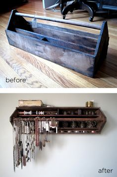 Vintage old metal tool box repurposed into wall jewelry display storage rack; for arts and crafts show booth, retail display or cottage style home decor; Old Tool Boxes, Wooden Tool Boxes, Metal Tool Box, Metal Tools, Wall Organization, Jewelry Organization, Jewellery Storage, Jewellery Display, Necklace Storage