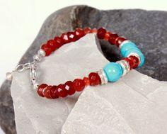 Sunset~ Bracelet~ Orange Carnelian, Turquoise, and Thai Silver | Tuesdaysmuse - Jewelry on ArtFire
