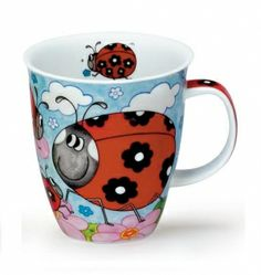 From a dutch website that says:  Cute English porcelain mug with funny ladybugs. The mug has a capacity of 0.48 L. Dishwasher safe. Brand: Dunoon.