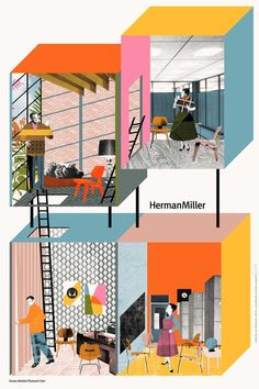herman miller illustration. Visit www.thomasinterior.com, the original dealer for Herman Miller office furniture in Chicago. TIS has been creating great places to work since 1977.