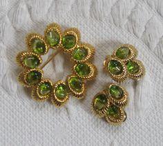 Demi Parure . swoboda . olivine . brooch and earrings . olivine brooch and earrings . olivine demi parure by vintagous on Etsy