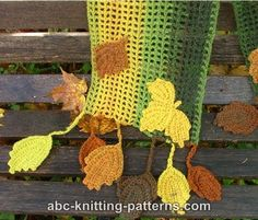 ABC Knitting Patterns - Fall Leaves Scarf.