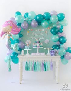Amazing Ideas for a Beautiful Mermaid Birthday Party! Style a beautiful under the sea birthday with gorgeous mermaid party ideas. These mermaid party food ideas Mermaid Theme Birthday, Little Mermaid Birthday, Little Mermaid Parties, Birthday Diy, Birthday Party Decorations, Birthday Table, Cake Birthday, Mermaid Party Decorations, Mermaid Themed Party
