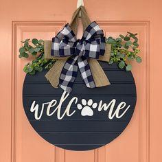 Dog Paw Print Shiplap Style Door Sign, White Welcome Door Hanger, Farmhouse Fall Decor, Buffalo Plaid Front Door Wreath Front Door Signs, Front Door Decor, Wreaths For Front Door, Front Porch, Dog Wreath, Welcome Door, Door Tags, Fall Door, Dog Paws
