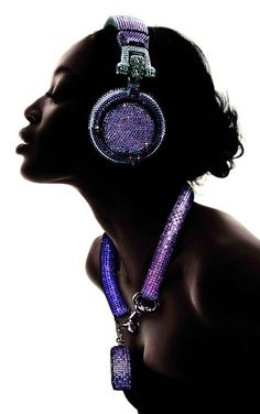 A majority of you were not feeling the bling desk accessories whatsoever, so I'm wondering if you think these Swarovski Fashion Rocks headphones are tacky as Girl With Headphones, Dj Headphones, Marshall Headphones, Swarovski, Lps, Good Quality Headphones, Music Girl, Dj Photos, Girl Dj