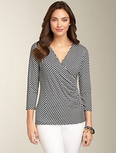 trellis Scallop Surplice-Wrap Top  new     $49.50  An always-flattering surplice-wrap top in a spring-perfect trellis scallop pattern. Crafted in our stylish, comfortable jersey knit. Ruched wrap, three quarter sleeves. 96% rayon/4% spandex. Machine wash. Imported.