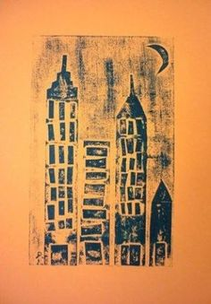 collograph printmaking collage cityscape elementary art lesson project by letha