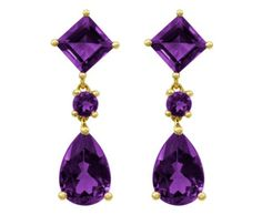 ❤ 14k Gold Amethyst Pear and Square Shaped Dangle Earrings ❤