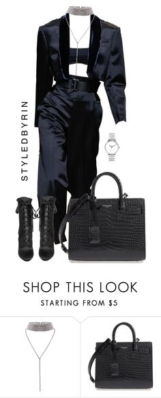 """Styledbyrin"" by styledbyrin ❤ liked on Polyvore featuring Yves Saint Laurent and Nixon"