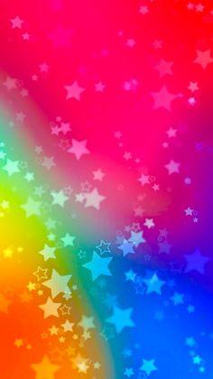 Fondo de colores arco iris lleno de estrellas   Rainbow background full of stars - #colorful wallpapers #fondos coloridos #colores vivos #bright colors ✨