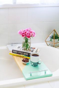 This quick and easy DIY bathtub shelf would make a sweet Mother's Day--or any day--gift.