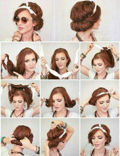 New Hair Styles Short Retro Beauty Ideas Scarf Hairstyles, Pretty Hairstyles, Wedding Hairstyles, Vintage Hairstyles Tutorial, Teenage Hairstyles, Vintage Hair Tutorials, Bandana Hairstyles For Long Hair, Rockabilly Hair Tutorials, Bohemian Hairstyles