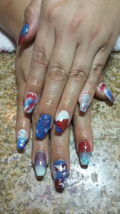 Fourth of July coffin nails red white and blue 4th of july nailart