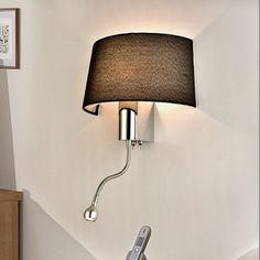 Black / White Bedside Wall Lamps 1W Led Spot Lighting Plumbing Hose Rocker Arm Reading Wall Lighting W/ Switch Sconce Wwl073