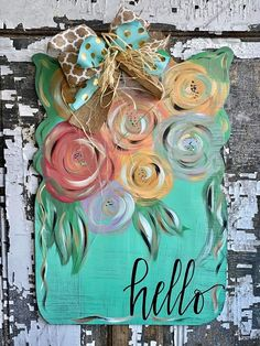 Creative Canvas by You - Special Orders — Lisa Miller Creative Wooden Door Signs, Painted Wooden Signs, Hand Painted, Letter Door Hangers, Wood Crafts, Chalk Crafts, Painted Gourds, Cool Art Projects, Pallet Art