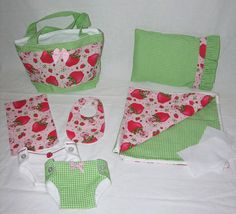 Bitty Baby Basics in Vintage Strawberry Shortcake-Diaper Bag and Diapers with Blanket on Etsy by cupcakecutiepie