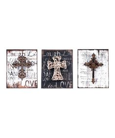 Add some cozy charm to a wall in the home with this antique-inspired wall art set. It comes ready to hang for an elegant, rustic look in any carefully curated room.