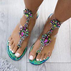 ef31352d2 Sandals - Summer Women s Rhinestone Flat Sandals