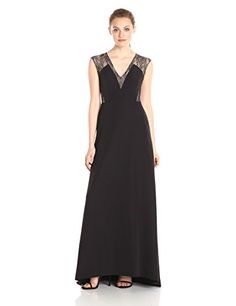Aidan By Mattox Womens Stretch Crepe Gown With Lace Inset Detail Black 8
