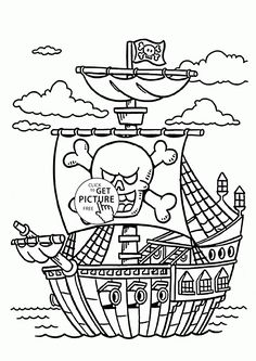 Pirate Ship Coloring Page For Kids Transportation Pages Printables Free