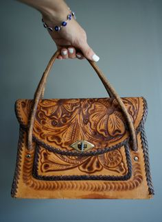 Vintage 60s Whiskey LEATHER MEXICAN Hand TOOLED Hand Bag by heightofvintage