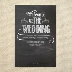DIY Wedding Ceremony Program / Order of Service Folded Card - Handlettered Chalkboard Love - Printable PDF Template - Instant Download. $15.00, via Etsy.