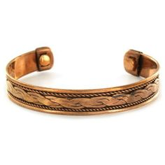 Copper Magnetic Pattern Cuff Bracelet - Smooth Rope Forza Jewelry. $9.99. Save 47% Off!