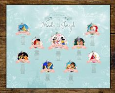 Beautiful Disney wedding table plan - by jill@hopeyoucanmakeit.co.uk