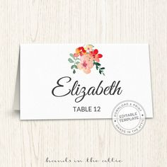 Unique wedding printables, wedding templates diy, wedding placecards, escort cards - TEMPLATE print yourself DOWNLOAD, floral wedding labels