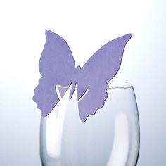 Platzkarten auf Glass - Schmetterling - Lila - 10er Pack - Online Hochzeitsshop