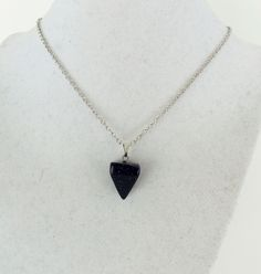 pyramid triangle stone pendant with silver metal chain in sandstone color by BubblegumGraffiti on etsy for only $5 each