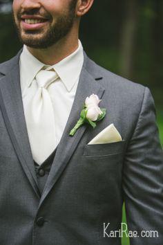 Groom - grey suit with white shirt and tie, soft pink rose boutonniere Oregon Backyard Woods Wedding | Kari Rae Photography, Portland Wedding Photographer