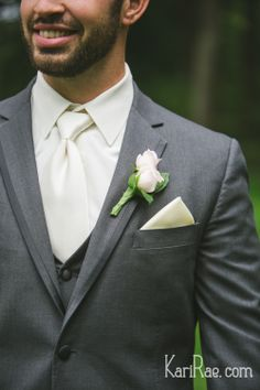 Groom - grey suit with white shirt and tie, soft pink rose boutonniere Oregon Backyard Woods Wedding | Kari Rae Photography, Portland Wedding Photographer